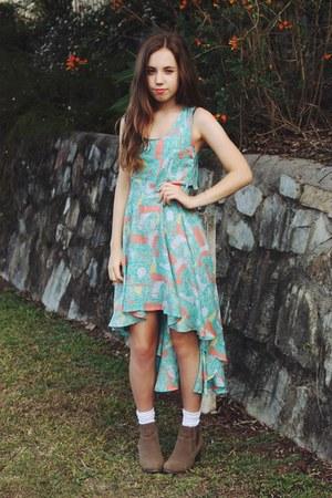 tan ankle boots Miss Shop boots - light blue Blue Jade dress