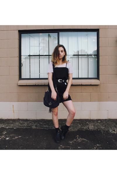 black silk Glassons dress - navy studded see by chloé bag