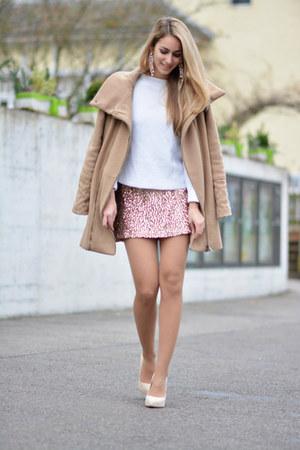 beige Vilanya coat - white Zara sweater - sequined asos skirt