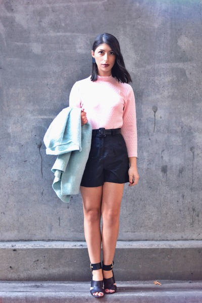 light pink Forever 21 top - light blue sammydress coat - black asos shorts