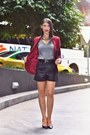 Charcoal-gray-target-sweater-crimson-boohoo-blazer-black-asos-shorts