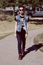 vintage boots - Cheap Monday jeans - asos bracelet - H&M vest - vintage t-shirt