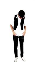 white pool shirt - black Rutra vest - black pool pants - Converse shoes - wayfar