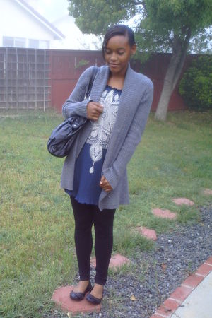 papaya dress - black kHOLEs leggings - black shoes - gray kHOLEs sweater