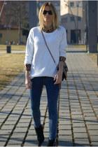 Zara boots - Topshop jeans - H&M jumper
