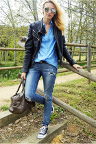 Topshop jeans - Zara jacket - H&M Trend blouse