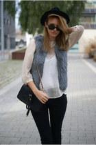 Topshop blouse - H&M jeans - charcoal gray Topshop vest