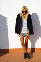 Topshop boots - Topshop blazer - Topman shirt - H&M shorts