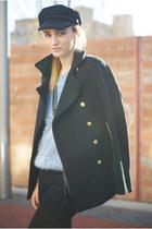 romwe coat - Zara jeans - choiescom hat - Romwecom jumper