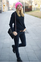 H&M hat - Topshop jeans - OASAP bag - Zara jumper