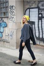 Topshop jeans - yellow H&M hat - romwe jumper - Topshop flats