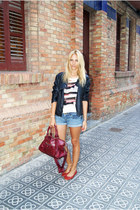 Topshop sweater - Zara jacket - balenciaga bag - Topshop shorts - H&M flats