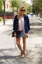 H&M blazer - Topshop shorts - H&M blouse - Zara flats