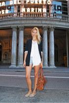 clohe bag - Bershka blazer - Topshop shorts - BLANCO flats - H&M blouse