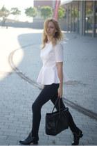 H&M Trend blouse - black Choies boots - Topshop jeans - nowIStyle bag