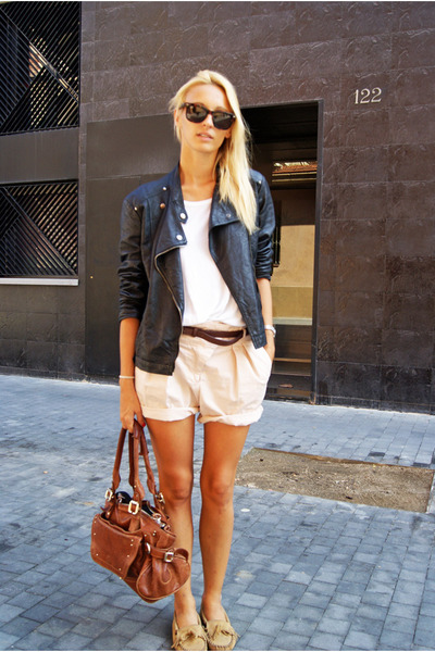 Zara jacket - Topshop shirt - clohe bag - Zara shorts - Minnetonka flats