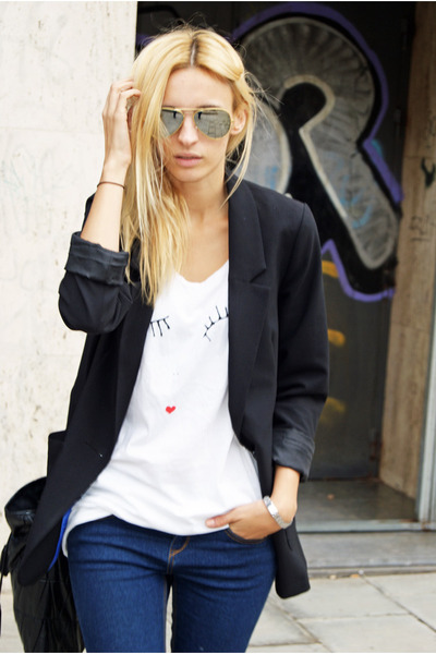 H&M blazer - Topshop jeans - Topshop shirt - Zara bag
