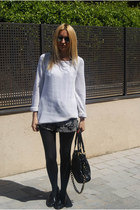 Topshop dress - Massimo Dutti shirt - Marc Jacobs bag - Topshop flats