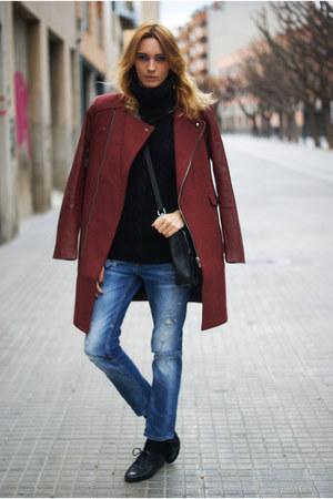 Sheinsidecom coat - Zara jeans - Romwecom jumper
