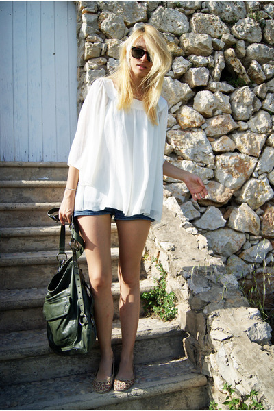 H&M blouse - Topshop bag - BLANCO flats