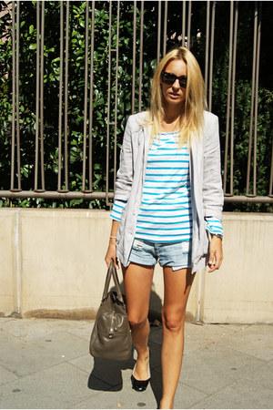 H&M shirt - Topshop blazer - Mango bag - Oysho shorts