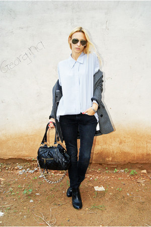 H&M boots - pull&bear coat - black Topshop jeans - vintage blouse