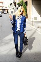 H&M blazer - Topshop jeans - Marc Jacobs bag - Topshop blouse
