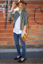 H&M Trend jacket - Topshop jeans - dark brown Sfera hat