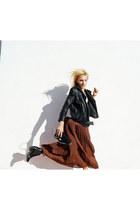 Topshop jacket - H&M boots - black Topshop bag - vintage skirt