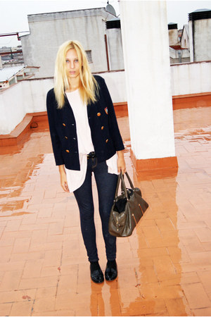 Topshop blazer - Topshop jeans - Mango bag - H&amp;M blouse - Topshop flats