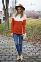 chicnova sweater - Topshop jeans - Sfera hat - Zara flats
