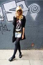 Topshop flats - Topshop blazer - Reecn shirt - Topshop shorts
