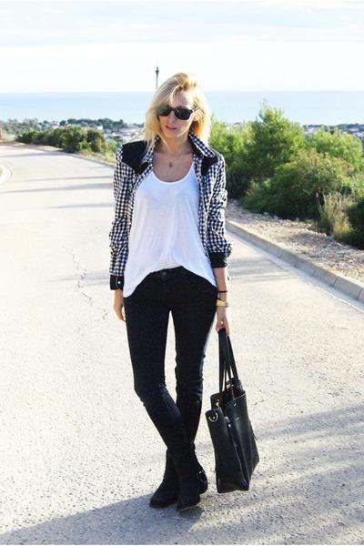 black Topshop blouse - Zara jeans
