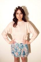 floral skirt vintage skirt - pink jumper vintage jumper