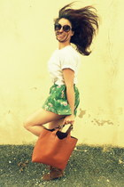 tote Zara bag - fringed boots Pimkie boots - green floral vintage shorts