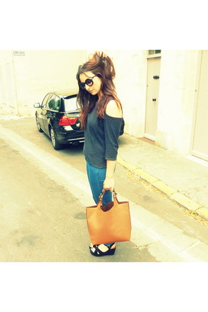 black Primark sandals - skinny jeans new look jeans - vintage top