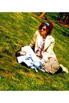 handmade shirt - Koton jacket - silk vintage scarf