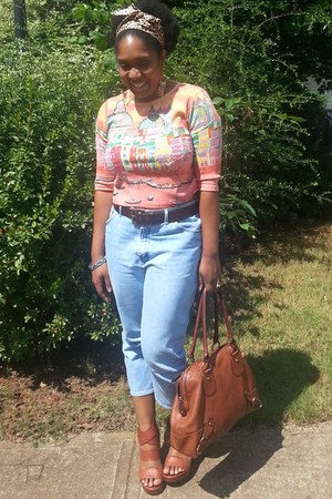 light blue high waisted thrifted jeans