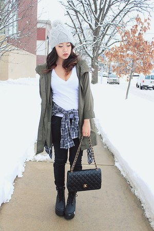 olive green Tobi jacket - black classic flap Chanel bag