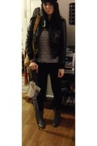 black Max Azria jacket - blue Gap shirt - black Max Azria pants - silver Aldo bo