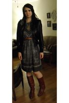 black handerchief vintage dress - 80s brown vintage boots