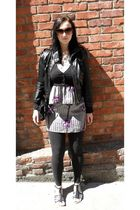 black pleather Max Azria jacket - black shoes - silver Urban Outfitters dress