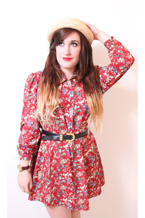 floral swing vintage dress - pork pie hat Topshop hat