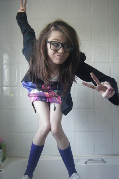 purple Dunnes stockings - white Topshop shoes - purple River Island dress