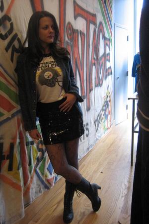 f21 boots - TJMaxx skirt - Goodwill t-shirt - vintage shirt