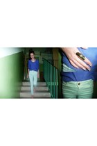 light purple H&M sweater - aquamarine Zara pants - ring - salmon Diverse flats