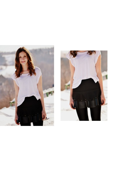 white H&M shirt - black pull&bear skirt
