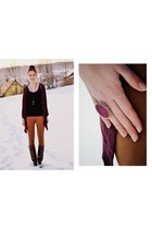 crimson New Yorker sweater - bronze Mohito leggings