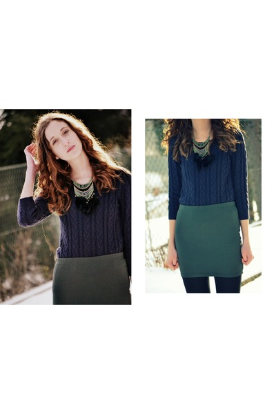 green new look necklace - navy H&M sweater - olive green New Yorker skirt