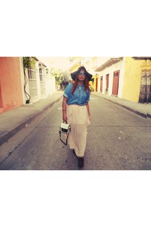 vintage blouse - Forever 21 hat - Forever 21 bag - vintage flats